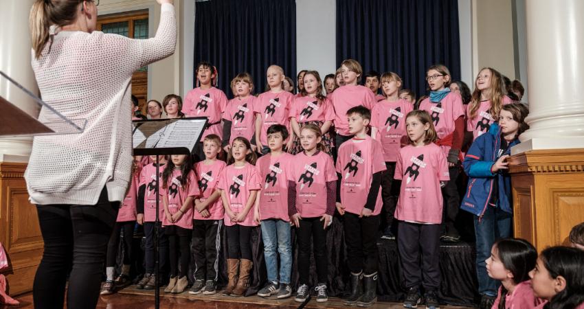 Sr Choir performing at the Legislature for Pink Shirt Day, Feb 26, 2020